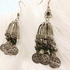 Jewelry - Rustic Birdcage Dangling Coin Earrings , Flower